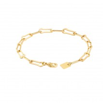 Aobei Pearl,18K Gold Plated Paperclip Chain Adjustable Layered Open Link Bracelet Minimalist Jewelry For Women,Charm Jewelry for Women ,Simple Chain Bracelet,ETS-B603