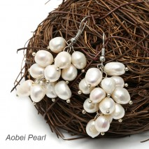 Aobei Pearl - Bridal Earring with Baroque Freshwater Pearls, Pearl Earring, Dangle Earring, ETS-E021