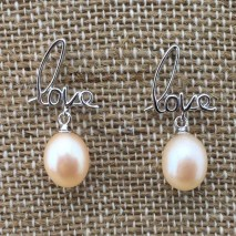 Aobei Pearl, Love charm pearl earrings, sterling silver earrings, wedding earrings, ETS-E033