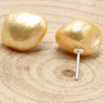 11-12 of baroque golden pearl earrings  ETS-E059