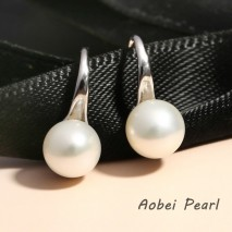 Aobei Pearl, Handmade Earring with Freshwater Pearl and Sterling Silver Earring Hook, Dangle Earring, Pearl Earring, 925 String Silver Earring, ETS-E062