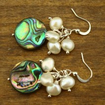 6-7 mm baroque pearls and 15 mm paua shell pearl earrings   ETS-E073