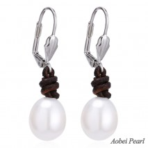 Aobei Pearl - Handmade Freshwater Pearl Earring for Women with Genuine Leather, Half Hole Rice Pearl Earring, ETS-E089