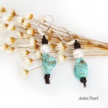 Aobei Pearl -  Handmade Earring made of Freshwater Pearl, Turquoise and Genuine Leather Cord, Leather Pearl Dangle Earring, ETS-E090