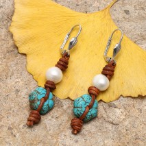 Aobei Pearl Handmade Pearl Dangle Earring for Women, Leather Jewelry for Girls, Turquoise Beads Drop Earring, Boho Knotted Earring, ETS-E093