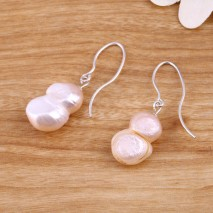 13-14 mm Calabash Cucurbit Pink Freshwater Pearl Silver Hook Fine Fashion Earrings
