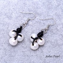 Aobei Pearl - Handmade Earring made of Freshwater Pearl, Genuine Leather Cord and Stainless Steel Earring Hook, Dangle Earring, Flower Pearl Earring, ETS-E135