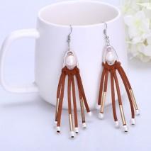 9-10&5-6 MM Rice&Potato White Freshwater Pearl Korean Villus Light Brown Leather Fine Earrings