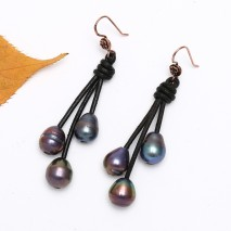 Aobei Pearl Handmade Triple Peacock Blue Pearls Dangle Earring Leather Earrings for Girls Fashion  Hook Earring for Women, Drop Earring, ETS-E178