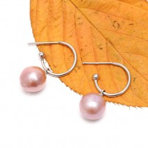 ETS-E179 natural pearl handmade earrings 10-11mm round colorful pearl earrings