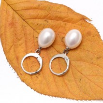 ETS-E181 9-10mm rice white pearl earring, high quality handmade earrings