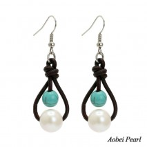 Aobei Pearl - Handmade Earring made of Freshwater Pearl & Turquoise on Genuine Leather, Women Pearl Earring, Dangle Earring, ETS-E195