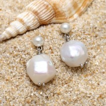 Aobei Pearl, Exquisite Earring made of 5.5 - mm Button Pearl, 14-15 mm * 11-12 mm Freshwater Unclear Pearl and String Silver Earring Back, ETS-E238