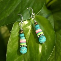 Aobei Pearl, Handmade Earring with Turquoise, Clay and 925 String Silver Accessory, ETS-E269