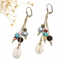 Aobei Pearl, Handmade Earring with Alloy Accessory, Turquoise, Freshwater Pearl and Shell for Women ! Pearl Earring, ETS-E272