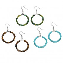 Aobei Pearl, Handmade Earring with Turquoise, Tiger e Eye Stone Beads and Green Agate, ETS-E273