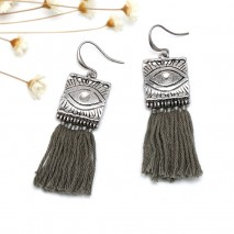 Aobei Pearl Handmade Personal Earring with Alloy Accessory and Cotton Thread Tassel, ETS-E274
