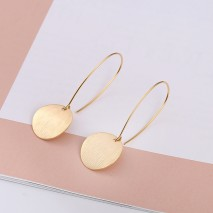 Aobei Pearl Dainty Brushed Convex Disc Dangle Earring made of 18K Gold Plated Copper, Round Karma Coin Drop Earring for Women, Hoop Earring, ETS-E289