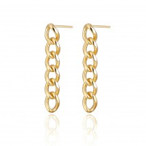 Aobei Pearl Curb Chain Dangle Earring, Dainty Gold Stud Earring, Handmade Jewelry for Women, ETS-E293