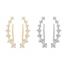 Aobei Pearl Cubic Zirconia Earring Climber 18K Gold Plated or 925 Sterling Silver Plated Earring Handmade Jewelry for Women, Gemstone Earring for Mother's Day, ETS-E311