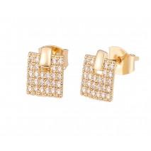 Aobei Pearl,Square earrings,18K gold-plated zircon earrings,Handmade Geometric Jewelry Fashion Octagon Earrings,Jewelry for Women,ladies gifts ETS-E316