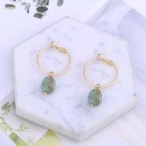 Aobei Pearl Handmade 18K Gold Huggie Hoop Turquoise Dangle Earrings for Women Girls, Natural Turquoise Beads Drop Earring, Fashion Gold Earring for Mother's Day, ETS-E343