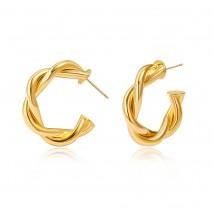 Aobei Pearl ,18k Gold Plated Twisted Hoop Wrap Earrings Chunky Thick Ear Cuffs Huggie Hoop Statement Hypoallergenic Stud Earrings Jewelry Gifts for Women,ETS-E360