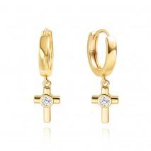 Aobei Pearl ,18K Gold Cross Huggie Hoop Earrings for Women Trendy Simple Drop Dangle Cute Earring for Girl Dainty Cubic Zirconia Cross Hypoallergenic Women Earrings,ETS-E361