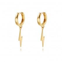 Aobei Pearl Handmade 18K Gold Lightning Huggie Hoop Earrings for Women Trendy Simple Drop Dangle Cute Earring for Girl Dainty Lightning Bolt Earrings Women Jewelry,ETS-E364