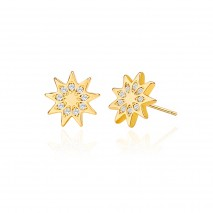 Aobei Pearl,18K Gold Micro-inlaid Cubic Zirconia Flower Stud Earring for Women Girls Fashion Geometric Cartilage Earring Small Post Ear Jewelry Handmade for Christmas Gift,ETS-E365