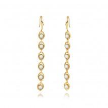Aobei PearlEvil Eye Dangle Drop Earrings 18K Gold Plated Dainty Created Opal Gemstones Earrings Fish Hook Long Earrings For Women. ETS-E366