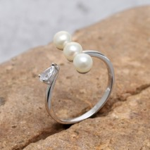 Aobei Pearl, Personal Ring, Wedding Ring, Engagement Ring, Pearl Ring, String Silver Ring, Party Ring, Open Ring, ETS-J042