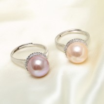 Aobei Pearl, Open Ring made of 11-12 mm Pink or Purple Round Freshwater Pearl and 925 String Silver Accessory, Exquisite Ring, Classic Ring, Wedding Ring, ETS-J044