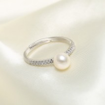 Aobei Pearl -- Open Ring made of 6.5-7 mm White Round Freshwater Pearl and Micro-inlaid 925 String Silver Accessory, Exquisite Ring, Wedding Ring, ETS-J045