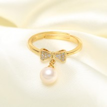 Aobei Pearl Open Ring made of 6.5-7 mm White Round Freshwater Pearl and Micro-inlaid 925 String Silver Accessory, Exquisite Ring, Wedding Ring, ETS-J046