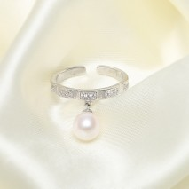 Aobei Pearl, Open Ring made of 6.5-7 mm White Round Freshwater Pearl and Micro-inlaid 925 String Silver Accessory, Exquisite Ring, Wedding Ring, ETS-J047