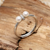 Aobei Pearl, 925 String Silver Ring made of 4.5-5 mm Button Freshwater Pearl and Micro-inlaid String Silver Accessory, Pearl Ring, Engagement Ring, ETS-J051