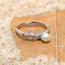 Aobei Pearl, Cute Rring for Women with 5-5.5 mm Round Freshwater Pearl and Gecko Shape Micro-inlaid String Silver Accessory, Pearl Ring, ETS-J052