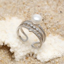 Aobei Pearl, Pearl and String Silver Ring for Women in Fashion Design, Pearl Ring, Engagement Ring, ETS-J053