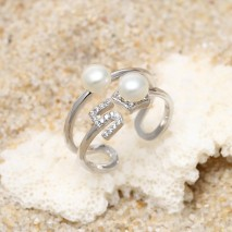 Aobei Pearl, Exquisite Ring with Pearls and Micro-inlaid 925 String Silver Accessory for Girls ! Pearl Ring, ETS-J054