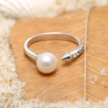 Aobei Pearl Pearl Ring with Micro-inlaid String Silver Accessory for Beautiful Bride, Wedding Ring, ETS-J055