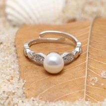 Aobei Pearl Exquisite Ring with Pearl & 925 Micro-inlaid String Silver Accessory for Beautiful Bride ! Pearl Ring, ETS-J056