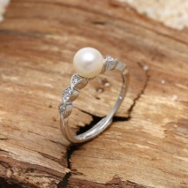 Aobei Pearl, Pearl  Ring with Freshwater Pearl & 925 Micro-inlaid String Silver Accessory, Engagement Ring, Wedding Ring, ETS-J057