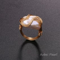 Aobei Pearl Handmade Pearl Ring with Wrapping String Plated with 18 K Gold, Wrapping Ring, Pearl Ring, Customization Ring, Wedding Ring, ETS-J058