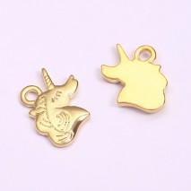 Aobei Pearl, 6 PCS from the Sale, 18K Gold Plated Rhino Shape Jewelry Pendant Charm for Jewelry Making, Jewelry Findings, DIY Jewelry Material,  ETS-K1261