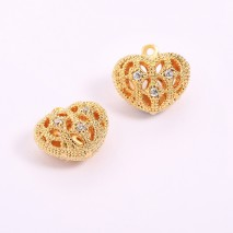 Aobei Pearl, 3 PCS from the Sale, 18K Gold-Plated Hollow Mesh Heart-Shaped Micro-inlaid Zircon Making Pendant , Jewelry Findings, DIY Jewelry Material, ETS-K1262