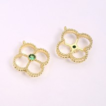 Aobei Pearl, 6 PCS from the Sale, 18K Gold-Plated Lucky Four-Leaf Clover Micro-emerald to Make Pendant Jewelry Charm for Jewelry Making, Jewelry Findings, DIY Jewelry Material, ETS-K1280