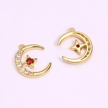 Aobei Pearl, 4 PCS from the Sale, 18K Gold Plated Moon Shape Inlaid Zircon and Star Inlaid Ruby Pendant for Jewelry Making, Jewelry Findings, DIY Jewelry Material, ETS-K1282