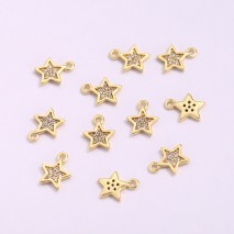 Aobei Pearl, 6 PCS from the Sale, 18K Gold-Plated CZ Star Shape Pendant for Jewelry Making, Jewelry Findings, DIY Jewelry Material, ETS-K1283