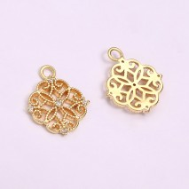 Aobei Pearl, 5 PCS from the Sale, 18k Gold Plated Round Filigree Charm Pendant,Gold Disc Charm,Round Fretwork Charm,Jewelry Findings, DIY Jewelry Material, ETS-K1288